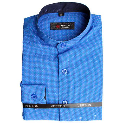 Синя сорочка для хлопчика з довгим рукавом трансформер комір стійка, фото 2