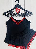 Черно красный пижамный комплект с бубонами из вискозы , фото 1