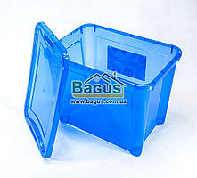 Емкость для хранения 20л универсальная (для вещей, пищи) пластик с крышкой (цвет - синий) Ал-Пластик Украина