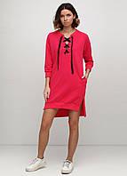 Повседневное платье  однотонное 95401 Коралловый