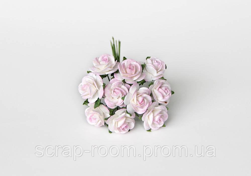 Роза мини бело-розовая диаметр 1,5 см, роза бело-розовая, бумажная роза, бумажная роза Таиланд, цена за 1 шт