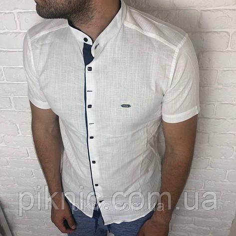 Рубашка приталенная XL (48) короткий рукав, мужская, слим. Турция турецкая мужская, лен Светлый, фото 2