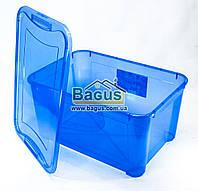 Емкость для хранения 47л универсальная (для вещей, пищи) пластик с крышкой (цвет - синий) Ал-Пластик Украина
