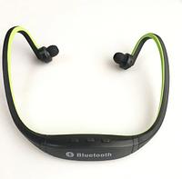 Беспроводные спортивные Bluetooth наушники гарнитура + FM Радио + поддержка MicroSD Зеленый
