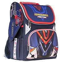 """Рюкзак школьный каркасный (ранец) для мальчика Class """"Robowars"""" темно-синий Чехия 9927"""
