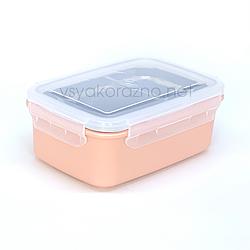 Ланч бокс металический на 2 деления (розовый)