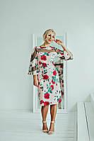 Шикарное платье трапеция персикового цвета, фото 1
