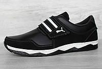 40, 42 і 43 р. Кросівки чоловічі на липучку чорні демісезонні кроссовки