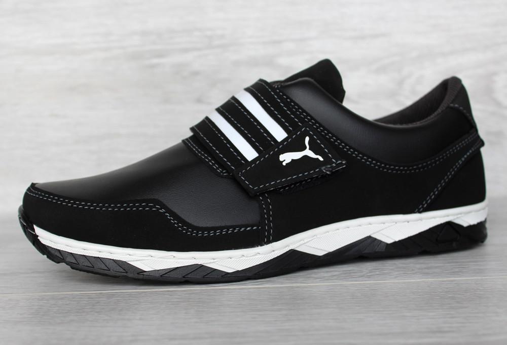 Кросівки чоловічі на липучку чорні демісезонні кроссовки