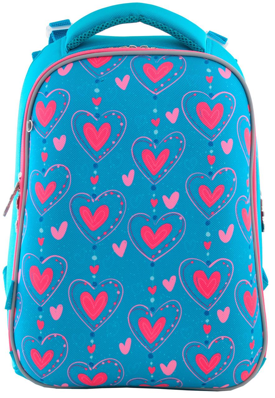 556034 Рюкзак школьный каркасный 1 Вересня H-12 Romantic hearts 29*38*15