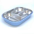 Ланч бокс с металическим дном и отделом для приборов  (синий), фото 3