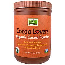 """Органический какао-порошок NOW Foods, Cocoa Lovers """"Organic Cacao Powder"""" натуральный шоколад (340 г)"""