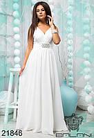Вечернее белое шифоновое платье летнее батал