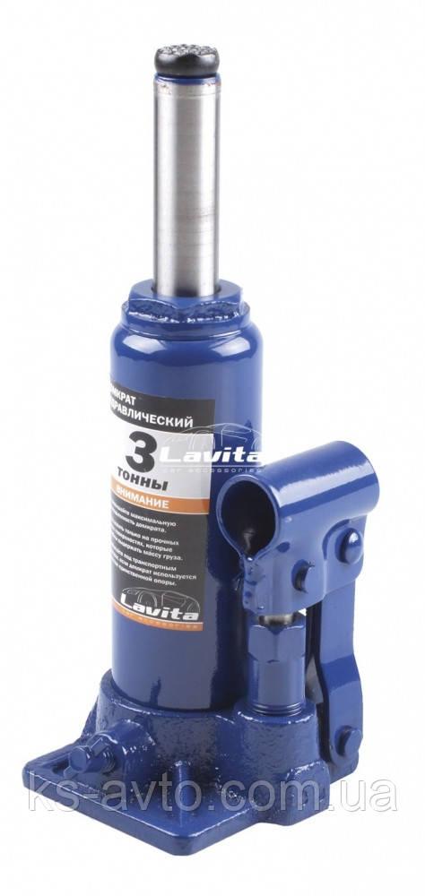 Домкрат гидравлический бутылочный 3т (180-340мм) LAVITA