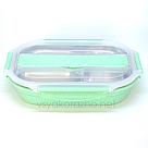 Ланч бокс с металическим дном и отделом для приборов  (зеленый), фото 2