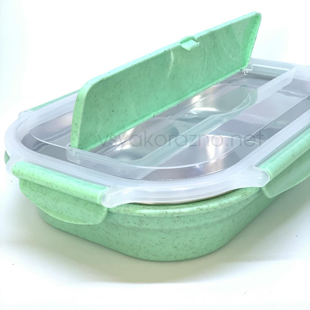 Ланч бокс с металическим дном и отделом для приборов  (зеленый)