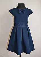 Школьное детское платье для девочек 134 и 140 размер, синего цвета
