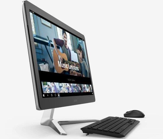Персональний комп'ютер-моноблок Acer Aspire Z24-880 23.8FHD IPS/intel i5-7400T/8/256F/ODD/NVD940-2/Lin/Silver