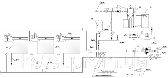 Гидравлическая схема модульной котельной КМ-2-300 с котлами КТН 1.100 СЕ
