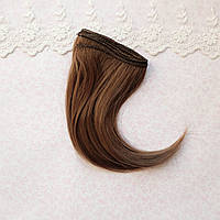Волосы для кукол прямые боб в трессах, светлый каштан шелк - 10 см