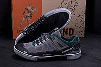 Мужские кожаные кроссовки Salomon Grey and Green Trend
