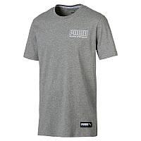 Футболка мужская спортивная Puma Athletics Tee 854106 03 (серая, хлопок, на каждый день, логотип пума)