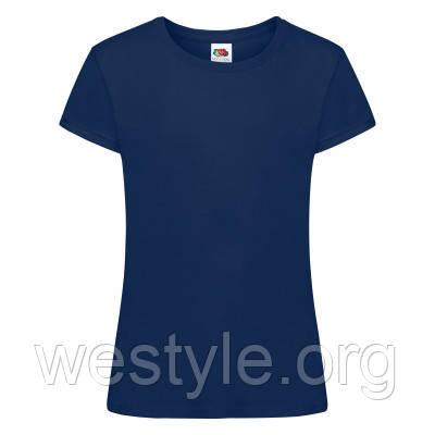 Футболка хлопковая средней плотности мягкая для девочек - 61017-32 темно-синяя