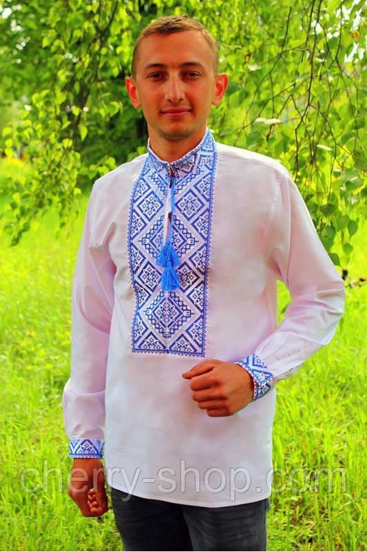 Мужская рубашка-вышиванка с синим орнаментом