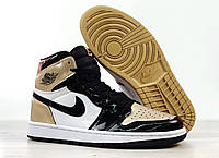 Мужские кроссовки Nike Air Jordan 1 Retro High, черно-белые с золотым, фото 1