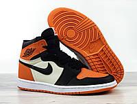 Мужские кроссовки Nike Air Jordan 1 Retro High, черно - оранжевые с бежевым, фото 1