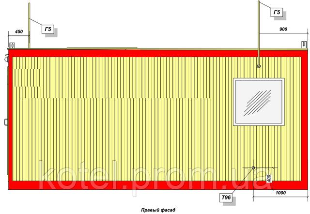 Правый фасад котельной КМ-2-300 1.100 СЕ