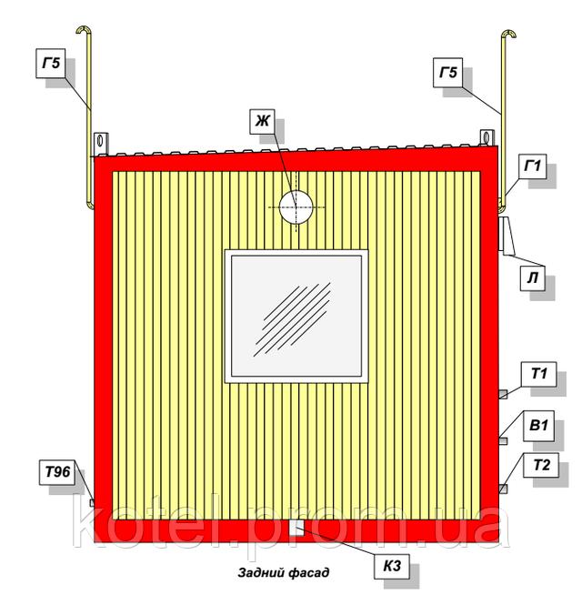 Задний фасад котельной КМ-2-300 с газовыми котлами Колви 1.100 СЕ