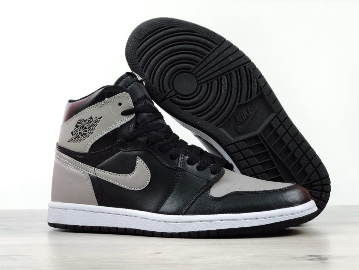 Мужские кроссовки Nike Air Jordan 1 Retro High, серые с черным