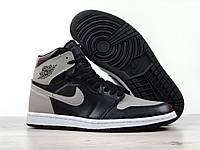 Мужские кроссовки Nike Air Jordan 1 Retro High, серые с черным, фото 1