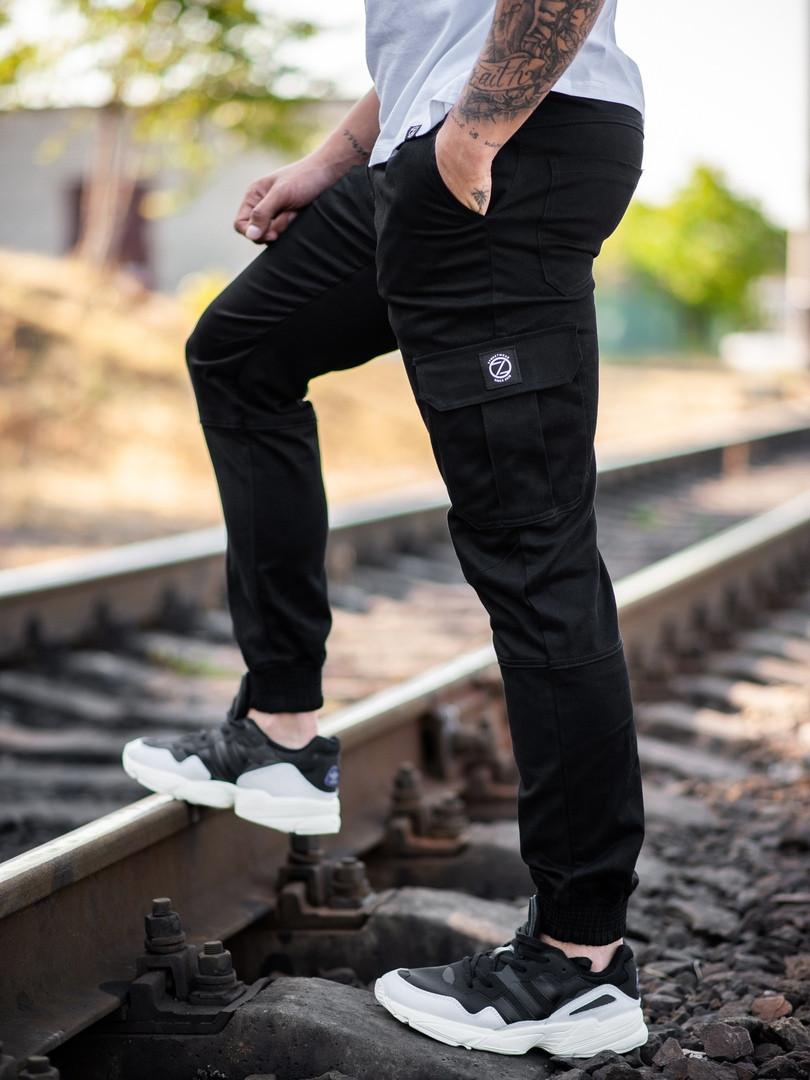 Мужские карго брюки beZet Basic (black), мужские осенние карго штаны, черные карго штаны