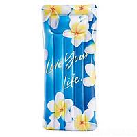 Пляжный надувной матрас - плот с подголовником Intex 58772 «Вдохновение», 178*84 см, цветы