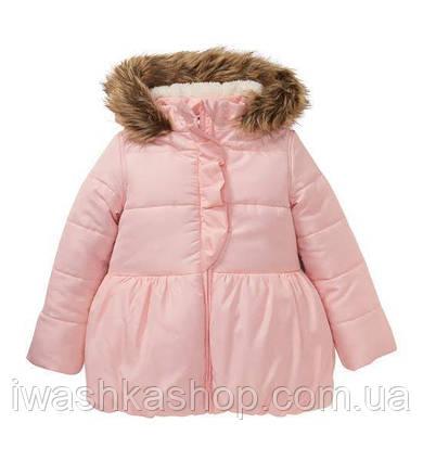 Розовая куртка еврозима с напылением на девочку 3 - 4 лет, р. 104, Kiki&Koko / KIK