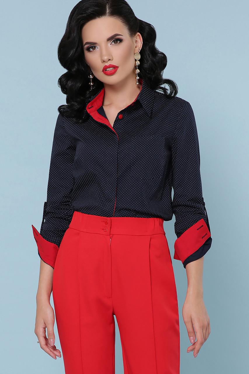 Женская блузка в горох, синяя, софт, стильная, повседневная, офисная, классическая