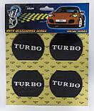 Наклейки на автомобильные колпаки и диски / комплект / диаметр 60 мм / TURBO, фото 2
