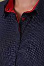 Женская блузка в горох, синяя, софт, стильная, повседневная, офисная, классическая, фото 7
