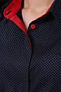 Женская блузка в горох, синяя, софт, стильная, повседневная, офисная, классическая, фото 8