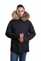 Черная мужская зимняя куртка-парка Hermzi 48-58р