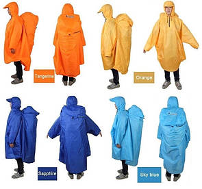 Пончо BLUEFIELD, накидка от дождя на рюкзак до 80 литров. Плащ-пончо від дощу.