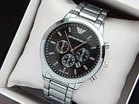Кварцевые наручные часы Emporio Armani серебристые с черным циферблатом, отображение даты, фото 1