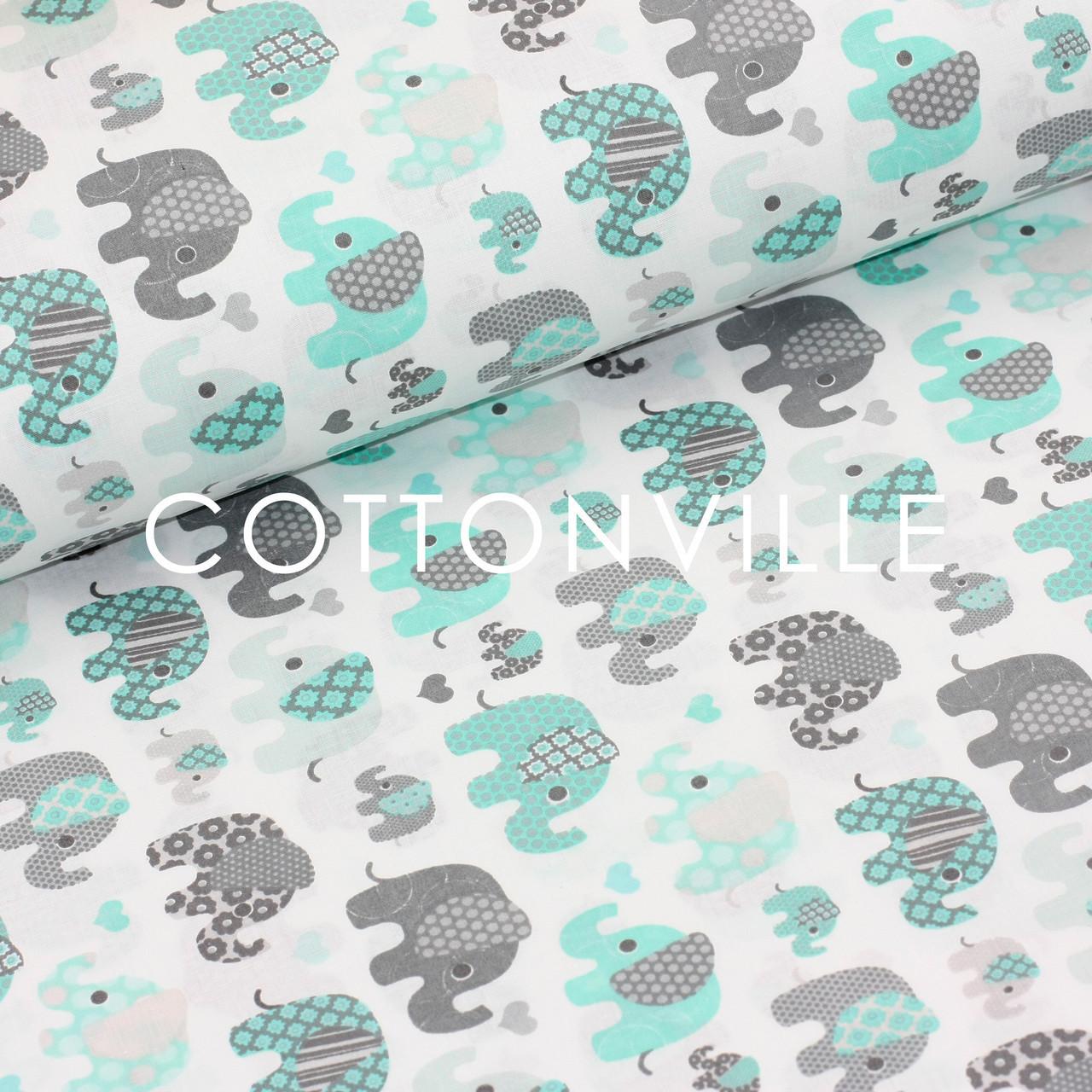 c0920c789bb1 Отрез хлопковой ткани Слоники мятно-серые 48х160 см: одежные ткани ...
