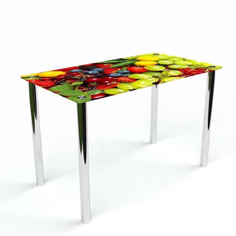Стіл кухонний скляний Прямокутний Wood berry 91х61 *Еко (БЦ-стіл ТМ)
