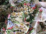 Винтаж 10092-2, павлопосадский платок (крепдешин) шелковый с подрубкой, фото 6
