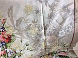 Винтаж 10092-2, павлопосадский платок (крепдешин) шелковый с подрубкой, фото 8
