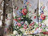 Винтаж 10092-2, павлопосадский платок (крепдешин) шелковый с подрубкой, фото 10
