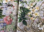 Винтаж 10092-2, павлопосадский платок (крепдешин) шелковый с подрубкой, фото 9